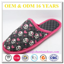 New fashion novelty bow skull print girls indoor slipper