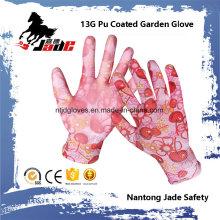 13G guante de trabajo de jardín PU recubierto