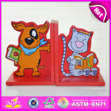 2015 New Product Newly Cute Wooden Bookend, Unique Wooden Bookend Wholesale, Promotion Toy Kid Bookend for Home Decoration W08d042