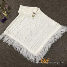 2016 Fashion Cable Design Pullover Sleeveless Sweater Cloak