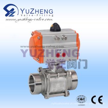 Válvula de esfera de rosca macho 3PC com atuador pneumático