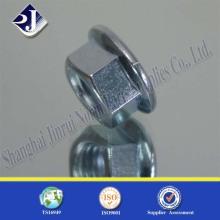 Porca de flange hexagonal com zinco azul 8
