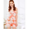 Cute Floral Print Spaghetti Strap Sleepwear Summer Pajamas Manufacture Wholesale Fashion Women Apparel (TA0002P)