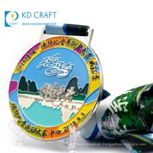 Unique design custom metal zinc alloy die struck soft enamel silver plating sport cycling medal for kids
