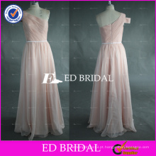 Real Pictures One Shoulder Long A Line Peach Chiffon Prom Dress Feito na China