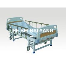 (A-43) Lit d'hôpital manuel à trois fonctions mobile avec tête de lit ABS