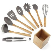 9PCS Silicone Bamboo Handle Utensils Set med hållare