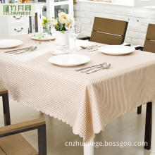 Eco-Friendly 100% Polyester Waterproof Custom Modern Simple Light Brown Stripes Tablecloth