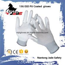 13G PU recubierto ESD Touch trabajo guante