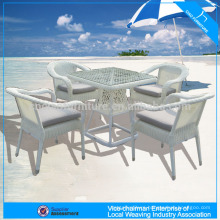 High-end outdoor white round wicker coffee table set