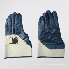 Blue Nitrile Jersey Liner Semi-Coated Nitrile Work Glove (5017)