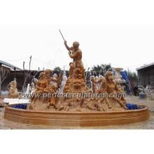 Fuente de agua de piedra con estatua de mármol del jardín (SY-F295)