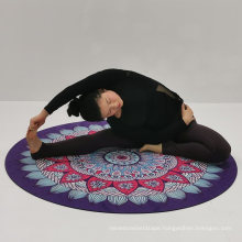 Custome Pattern Round Shape Suede Yoga Mat 55 Inches Natural Rubber Mat for Fitness Exercise