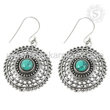 Superb design silver earring bridal jewelry 925 sterling silver turquoise gemstone wholesale jewellery exporter