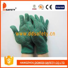 Schwere grüne Handschuhe mit schwarzem PVC-Kamm-Muster (DKP204)