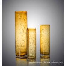 Vase en verre fleur en forme de cylindre coloré pour décoration Accueil