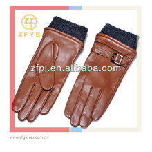 Men reddish brown XXL reddish brown hand gloves with leather belt