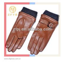 Homens marrom avermelhado XXL marrom avermelhado luvas de mão com cinto de couro