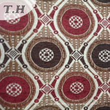 Rot und Braun Circular Chenille Jacquard Stoff für Stuhl und Möbel