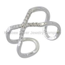 925 prata esterlina jóias dedo anel de CZ (kr3092)