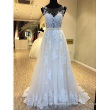 Uma linha de rendas noite vestido de noiva vestido de noiva