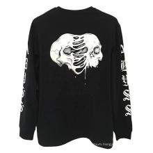 Black Custom Printing 210gsm Combed 100% Cotton Long Sleeve T Shirt
