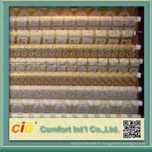 Tissu en PVC blanc et or fabriqué en Chine