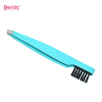 Slanted end Stainless steel eyebrow tweezers with brush