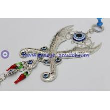 Turkey blue eyes Hamsa pendant Zulfiqar crossed swords machete wall home decoration