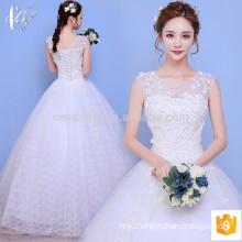 Romantic white bridal lace sleeveless ball gown Princess Wedding Dress