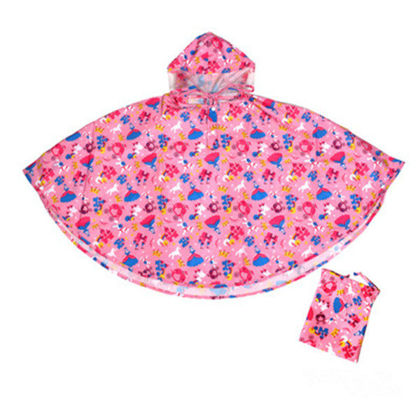 All over printed kids rain poncho
