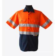Short sleeve reflective work shirts high viz orange