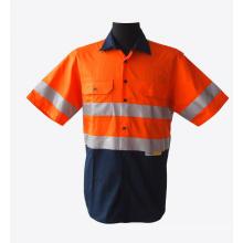 Chemises de travail réfléchissantes à manches courtes orange vif