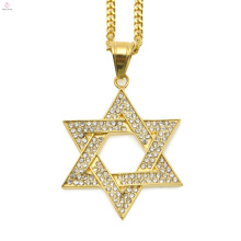 Chaîne de lien cubain Cristal Hip Hop bijoux en acier inoxydable David Star collier