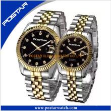 Montre de couples de mode avec la montre-bracelet de quartz de mouvement de bande d'acier inoxydable du Japon