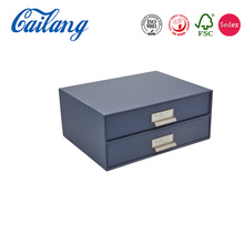 Blue Sliding Drawer Style Desk Organizer