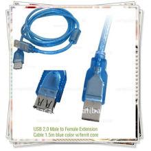 1,5 m de cor azul transparente USB 2.0 macho para fêmea Cabo de extensão USB AM TO AF cabo w / ferrit cabo
