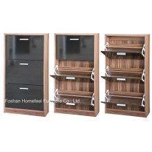 3 cajones Alto brillo cómodo armario de zapatos (HHSR01BT)