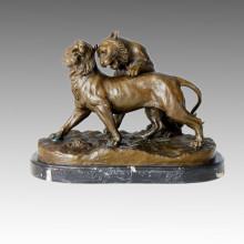 Estatua de animales de doble leones jugar la escultura de bronce, C. Valton Tpal-122