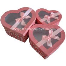 Hearted forma cosméticos papel caixa de presente com fita Clear Window
