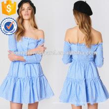 Синий и белый в полоску с плеча с длинным рукавом Раффлед мини-летнее платье Производство Оптовая продажа женской одежды (TA0242D)