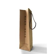 Bolsa de embalagem de vinho de papel Kraft personalizada