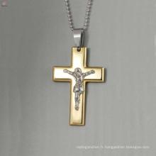 Pendentif de croix en acier inoxydable de grande qualité, bijoux jésus pendentifs, pendentifs croix en or jésus
