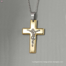 High quality big stainless steel cross pendant,jesus pendants jewelry,gold cross jesus pendants