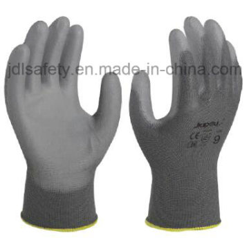 Grey Polyester Safety Glove with PU Coated (PN8002)