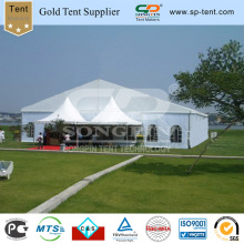 20X20m Clear Span Marquee with Twin 5m Opensided Pagoda Tents /20X15m Aluminum Frame Structure with Gable End Entrance Canopies