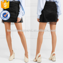 Moda de nova tule preto e cetim mini saia fabricação atacado moda feminina vestuário (t0011s)