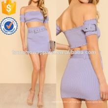 Afligido Denim Texturizado Bardot Colheita Top & Skirt Fabricação Atacado Moda Feminina Vestuário (TA4101SS)