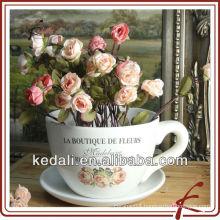 mug shape ceramic colored flower pot