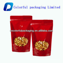 Custom Printed aluminum foil nuts bag/plastic nut food bag with clear window